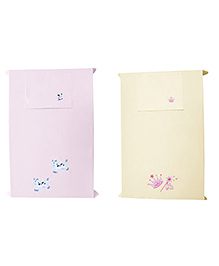 Baby Rap 2 Cows And Princess Design Crib Sheet With Pillow Cover Set Of 2 - Pink Lemon