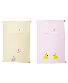 Baby Rap Princess And Ducks Design Crib Sheet With Pillow Cover Set Of 2 - Lemon Pink