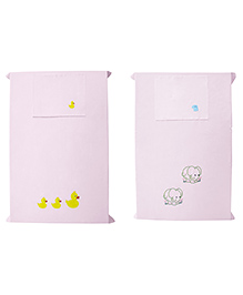 Baby Rap Ducks & Elephants Design Crib Sheet With Pillow Cover Set Of 2 - Pink