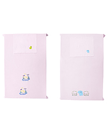 Baby Rap Elephant & Duck Party Design Crib Sheet With Pillow Cover Set Of 2 - Pink