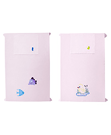 Baby Rap Fishes & Ducks Design Crib Sheet With Pillow Cover Set Of 2 - Pink