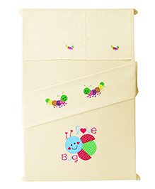 Baby Rap The Love Bug Design Crib Sheet With Pillow Cover - Lemon Yellow