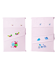 Baby Rap Dinosaurs And Love Bug Design Crib Sheet With Pillow Cover Set Of 4 - Pink
