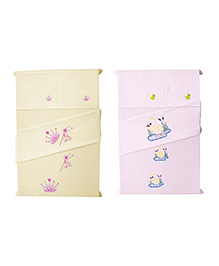 Baby Rap Prinncess & Ducks Design Crib Sheet With Pillow Cover - Baby Pink & Lemon Yellow
