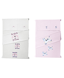 Baby Rap Princess & Cows Design Crib Sheet With Pillow Cover Set Of 4 - Pink White