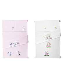 Baby Rap Ducks & Cows Design Crib Sheet With Pillow Cover Set Of 4 - Pink White