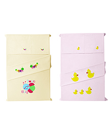 Baby Rap Love Bug And Ducks Design Crib Sheet With Pillow Cover Set Of 4 - Lemon Pink