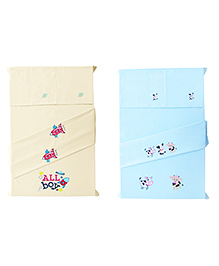 Baby Rap Spaceships & Cows Design Crib Sheet With Pillow Cover Set Of 4 - Lemon Blue