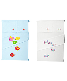 Baby Rap Fishes & Aeroplanes Design Crib Sheet With Pillow Cover Set Of 4 -