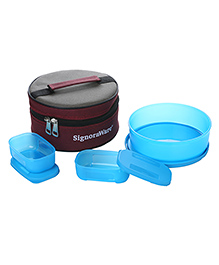 Signoraware Plastic Classic Lunch Box With Bag Blue - Set Of 3