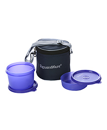 Signoraware Plastic Small Lunch Box With Bag Violet - Set Of 2