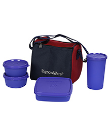 Signoraware Best Plastic Lunch Box Set With Bag Violet - Set Of 4