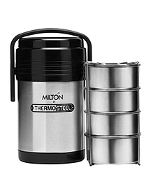 Milton Hot Meal Thermosteel Insulated Lunch Box - Black Silver - 1451139