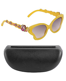Kidofash Butterfly Design Sunglasses With Hard Case - Yellow