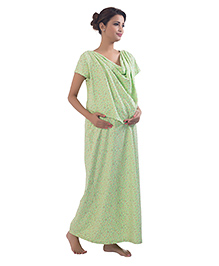Kriti Short Sleeves Nursing Maternity Nighty Floral Print - Light Green