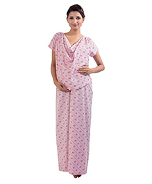 Kriti Short Sleeves Nursing Maternity Nighty Floral Print - Light Pink