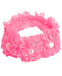 Miss Diva Pearl Studded Flower Soft Headband - Dark Pink