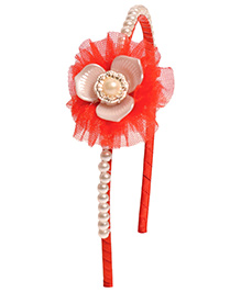 Miss Diva Pearl Beaded Lotus Hairband - Red