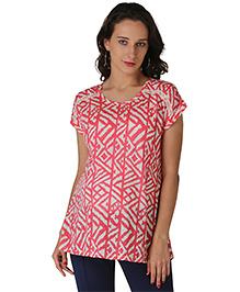 Morph Short Sleeves Printed Maternity Top - Coral