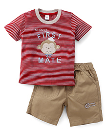 ToffyHouse Half Sleeves Striped T-Shirt With Patches And Shorts Set - Red