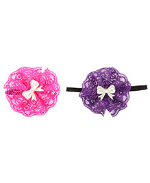 Funkrafts Satin Rose Hair Clips - Pink & Purple