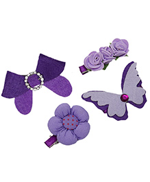 D'chica Set Of 4 Butterfly Flower & Bow Hair Clips - Purple