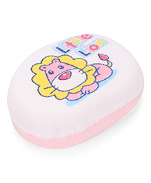 Bath Sponge With Teddy Print - Pink White