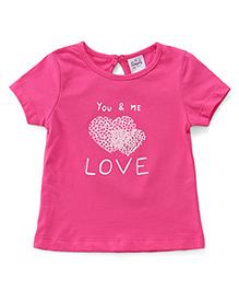 Simply Half Sleeves Tee Love Print - Pink
