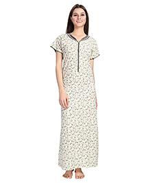 Eazy Short Sleeves Maternity Nursing Nighty Floral Print - Light Yellow