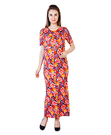 Blush 9 Maternity Half Sleeves Maxi Dress Floral Print - Red