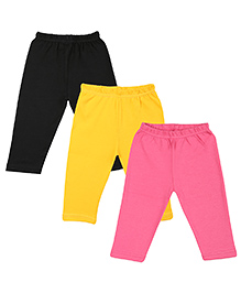 Colorfly Soft Cotton Leggings Pack Of 3 - Black Yellow Pink