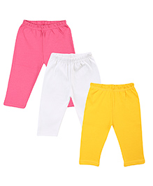 Colorfly Cotton Leggings Pack of 3 - Pink White Yellow