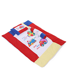 Baby Bed Set With Pillow And Bolster Multi Print - Red Blue