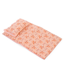 Baby Bed Set With Pillow Bear Print - Light Orange