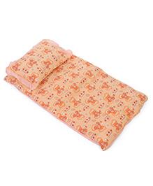 Baby Bed Set With Pillow Bear Print - Dark Orange