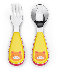 Skiphop Fork And Spoon Set Chase Cat Print - Red