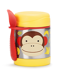 Skip Hop Insulated Food Jar And Fork Set Monkey Print - Red Yellow