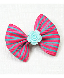 Asthetika Rose & Striped Bow Hair Clip - Pink