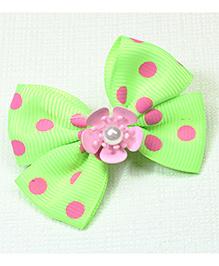 Asthetika Polka Dotted Bow Hair Clip - Green
