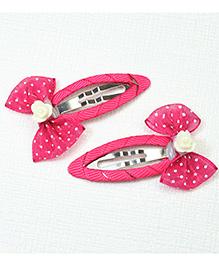 Asthetika Polka Dot Hair Clip Set Of 2 - Pink