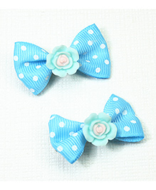 Asthetika Polka Dot Bow Hair Clips With Rose Set Of 2 - Blue
