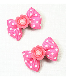 Asthetika Polka Dot Hair Clips With Rose Set Of 2 - Pink