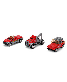 Playmate Die Cast  Fire Brigade Toy Vehicles Pack Of 3 - Red Grey