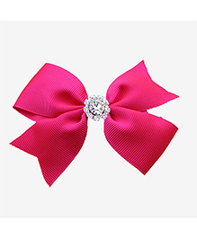 Angel Closet Beautiful Bow With Rhinestone Clip - Bright Pink