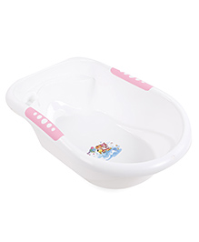Baby Bath Tub With Print - White Pink