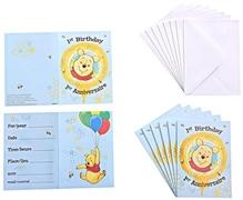 Winnie The Pooh - 1st Birthday Invitation with Envelopes