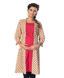 Kriti Three Fourth Sleeves Maternity Kurta - Red