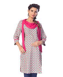 Kriti Three Fourth Sleeves Maternity Kurta Floral Print - Dark Pink