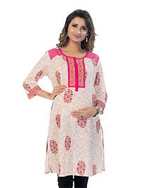 Kriti Floral Print Three Fourth Sleeves Maternity Nursing Kurta - Cream