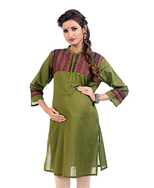 Kriti Three Fourth Sleeves Maternity Nursing Kurta - Green